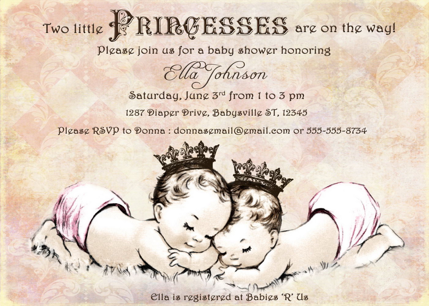 Twin Birth Announcement Template Free