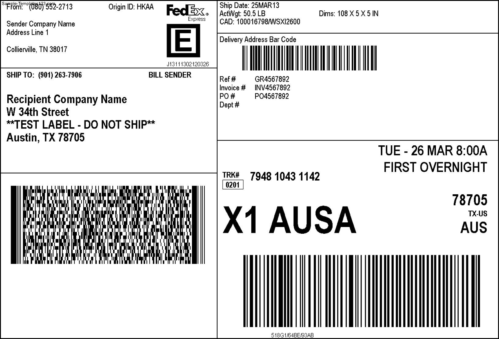 Usps Label Template For Word