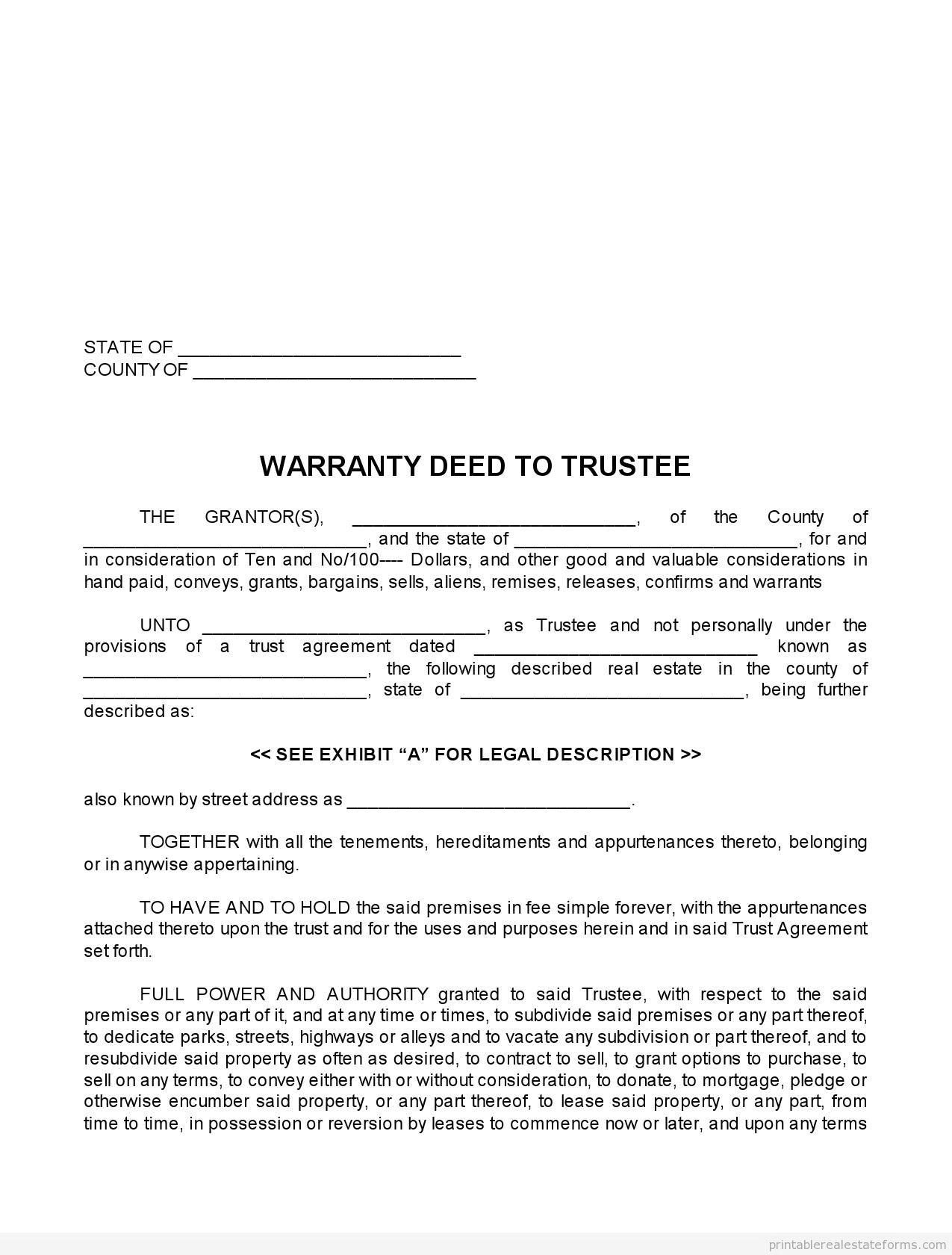 Warranty Deed Template Missouri