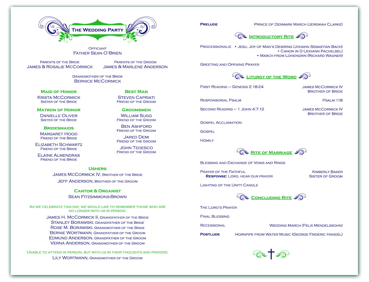 Wedding Ceremony Program Templates Free