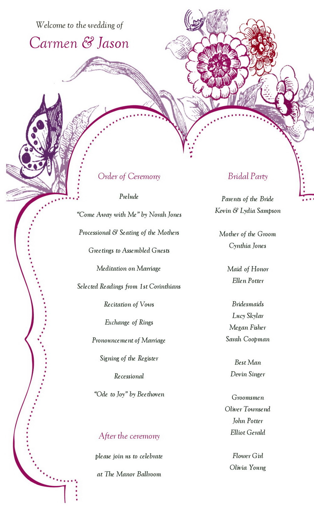 Wedding Reception Agenda Template