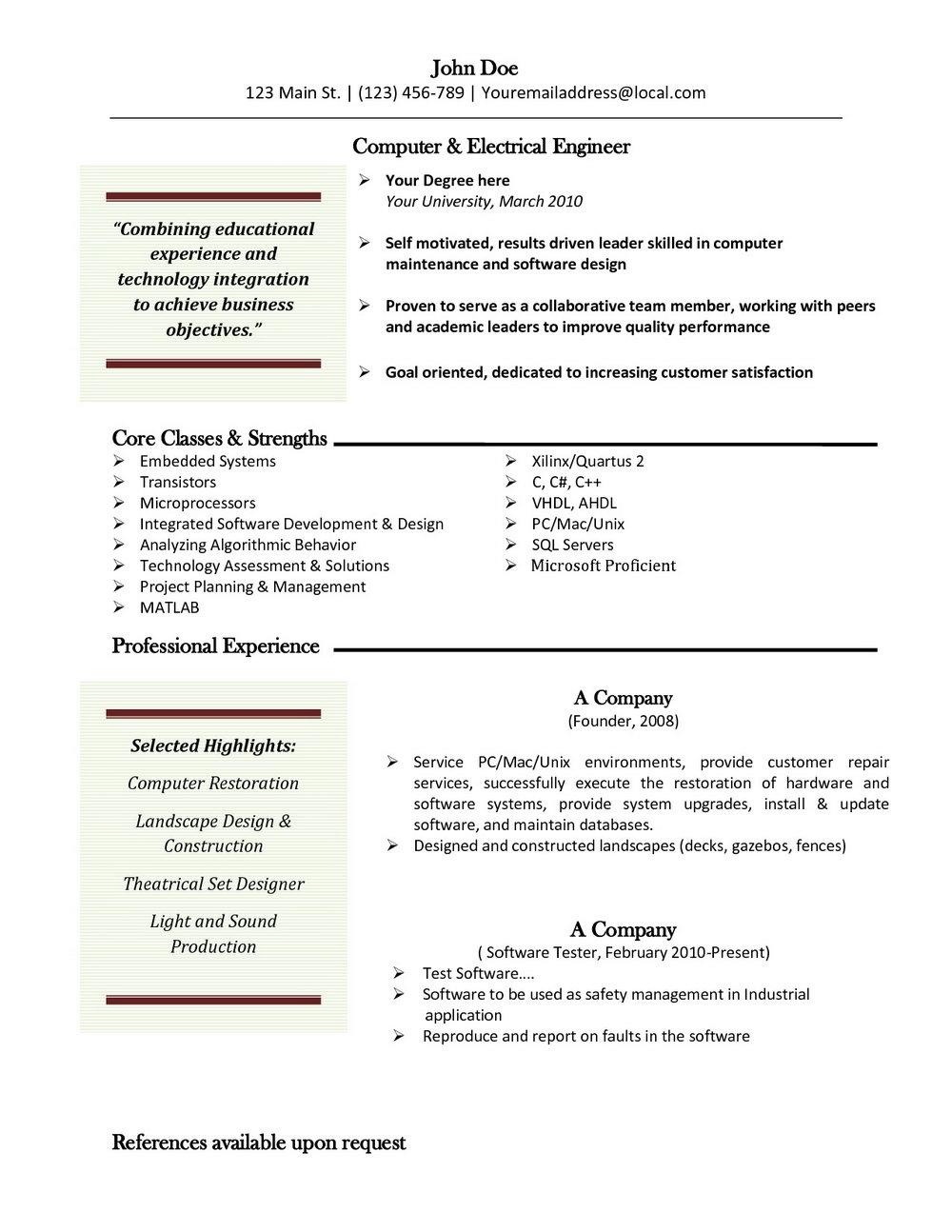 Word Resume Template Mac