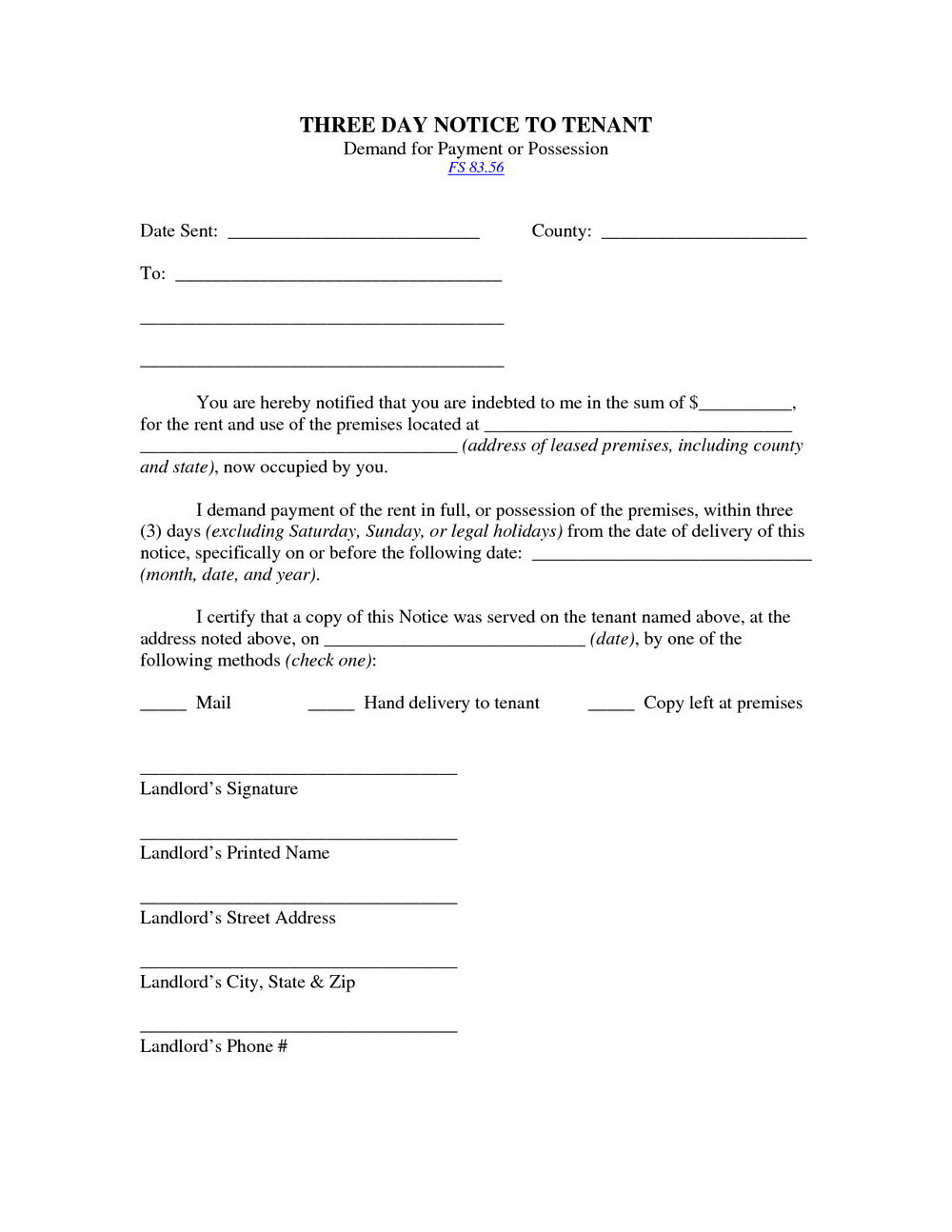 3 Day Eviction Notice Florida Template