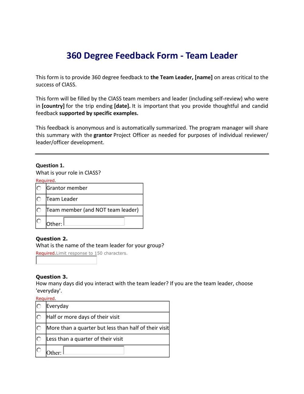 360 Degree Feedback Template Pdf
