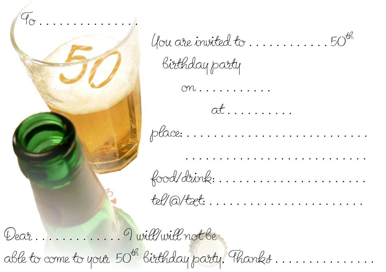 50th Birthday Invitations Templates Free Download