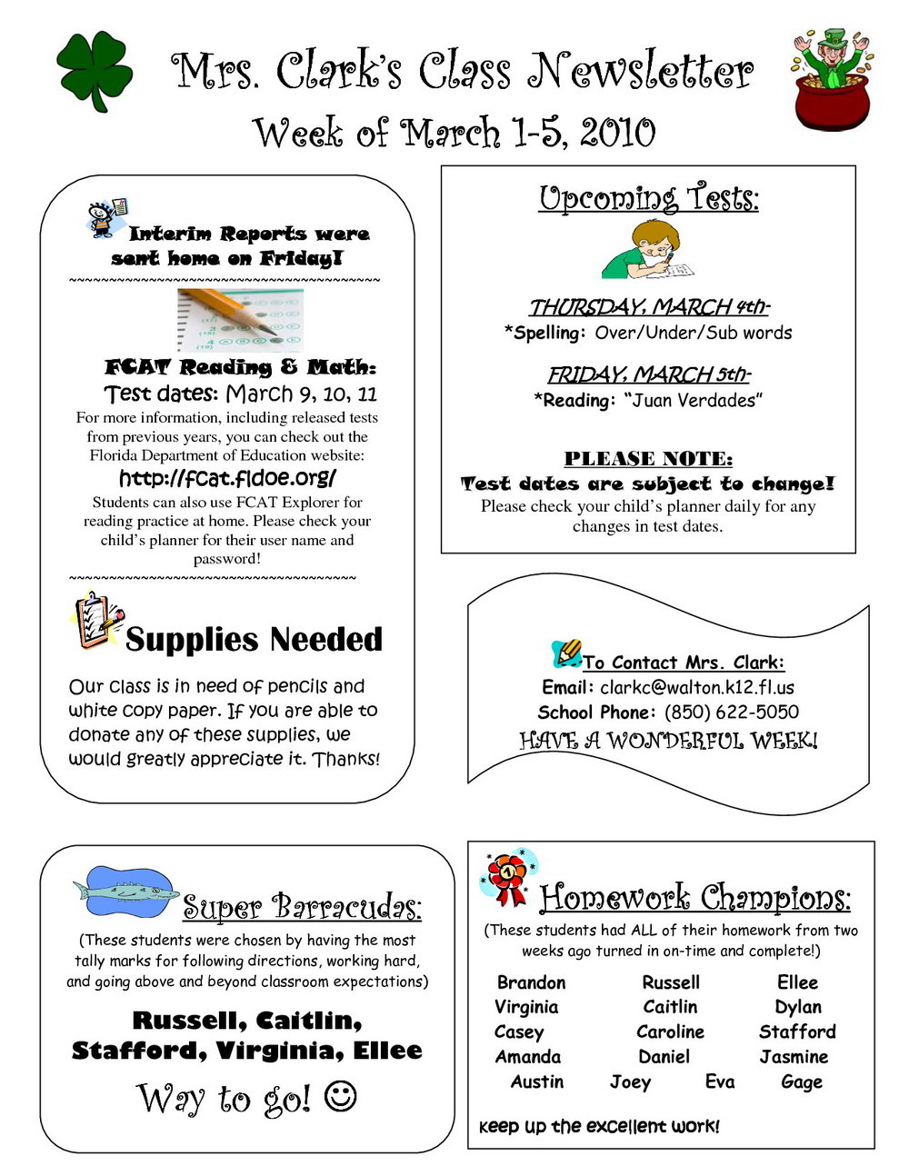 5th Grade Newsletter Template Free