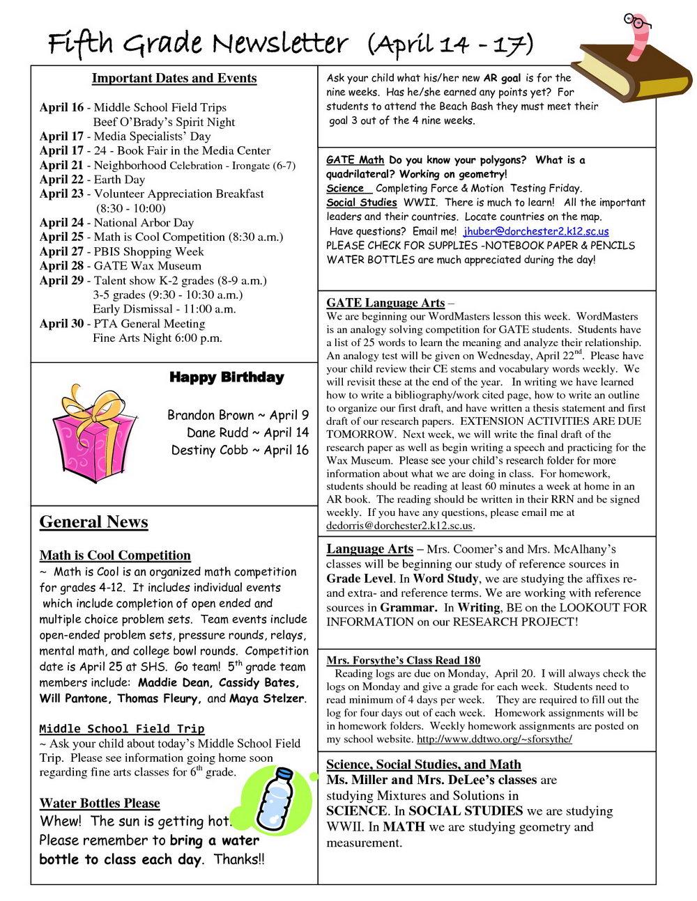 5th Grade Newsletter Template