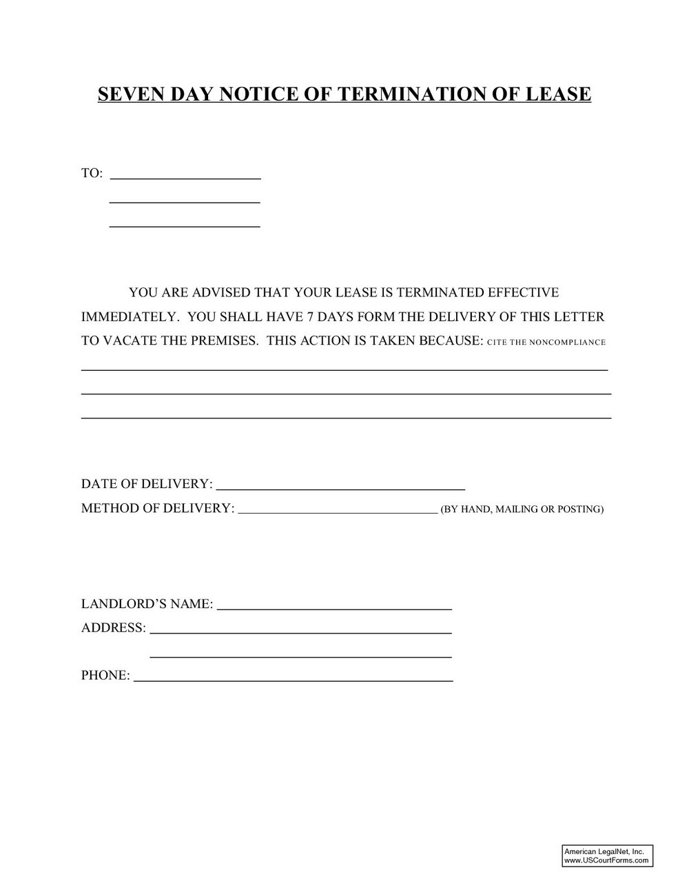 60 Day Lease Termination Notice Template