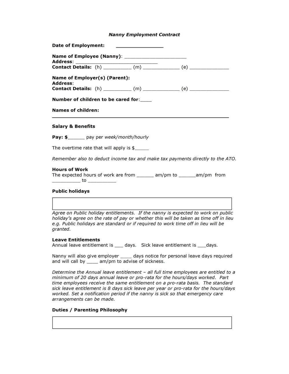Babysitting Contract Template Free