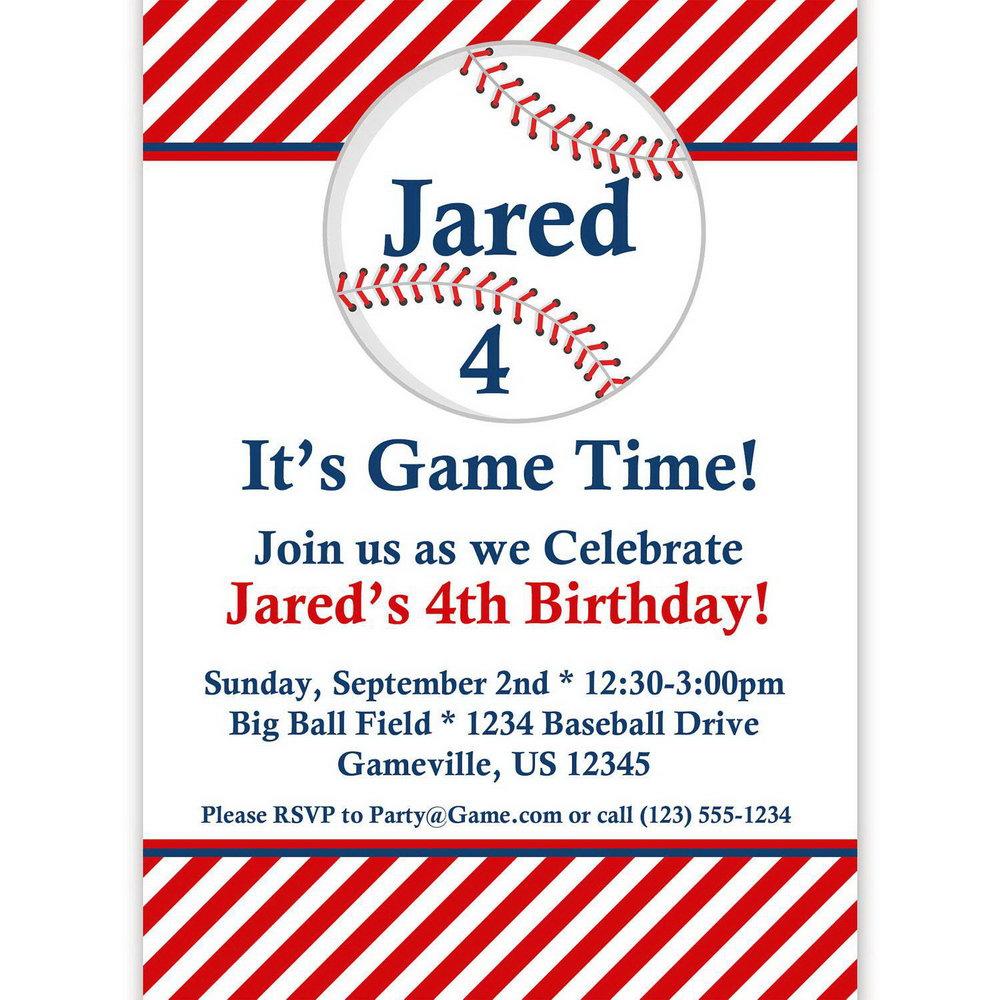 Baseball Themed Invitation Template