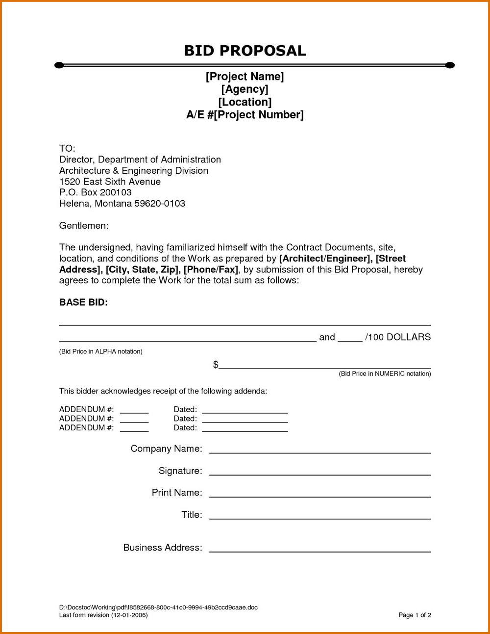 Bid Proposal Form Template