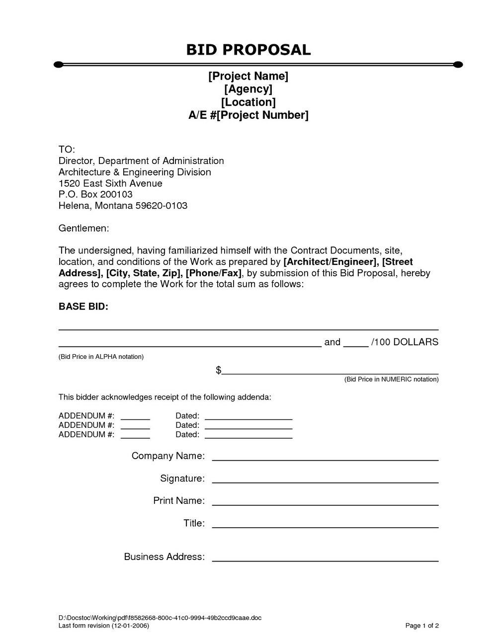 Bid Proposal Template Excel