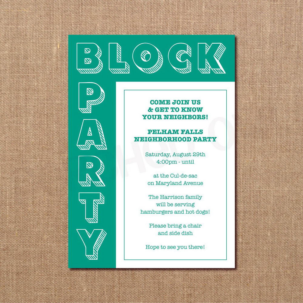Block Party Invitation Template Word