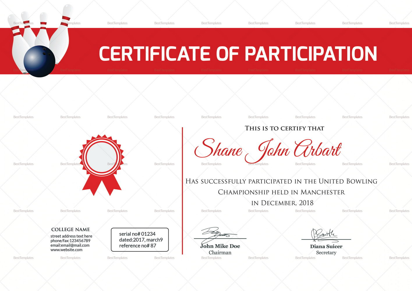 Bowling Award Certificates Templates