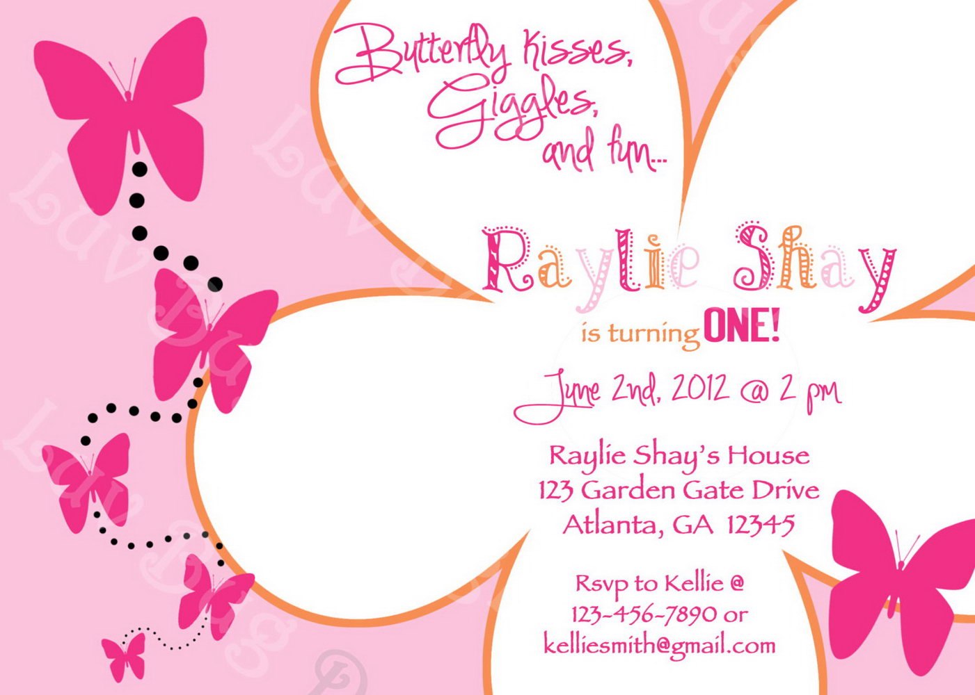 Butterfly Invitation Templates For Birthdays