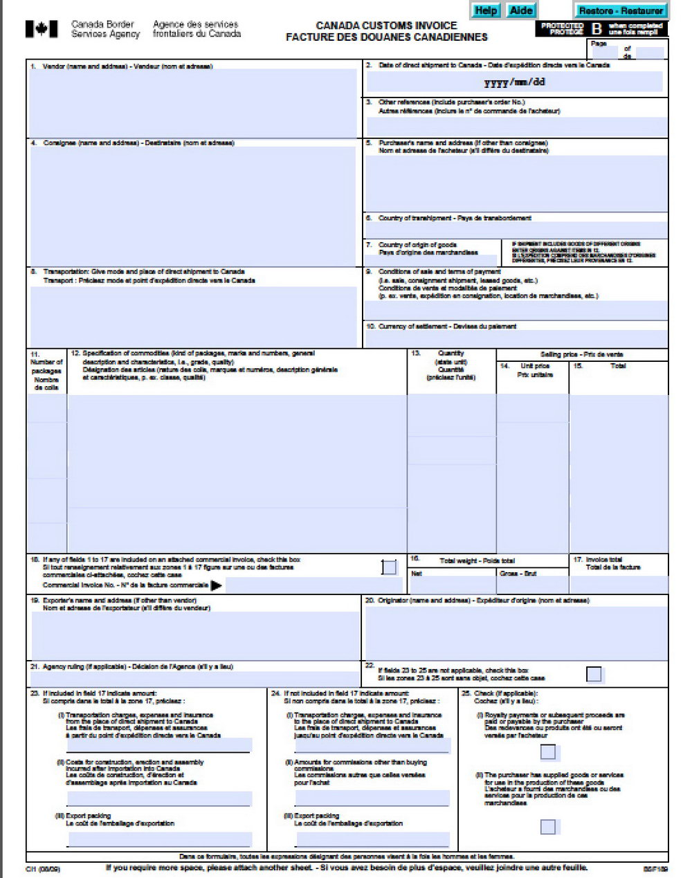 Canada Customs Invoice Template