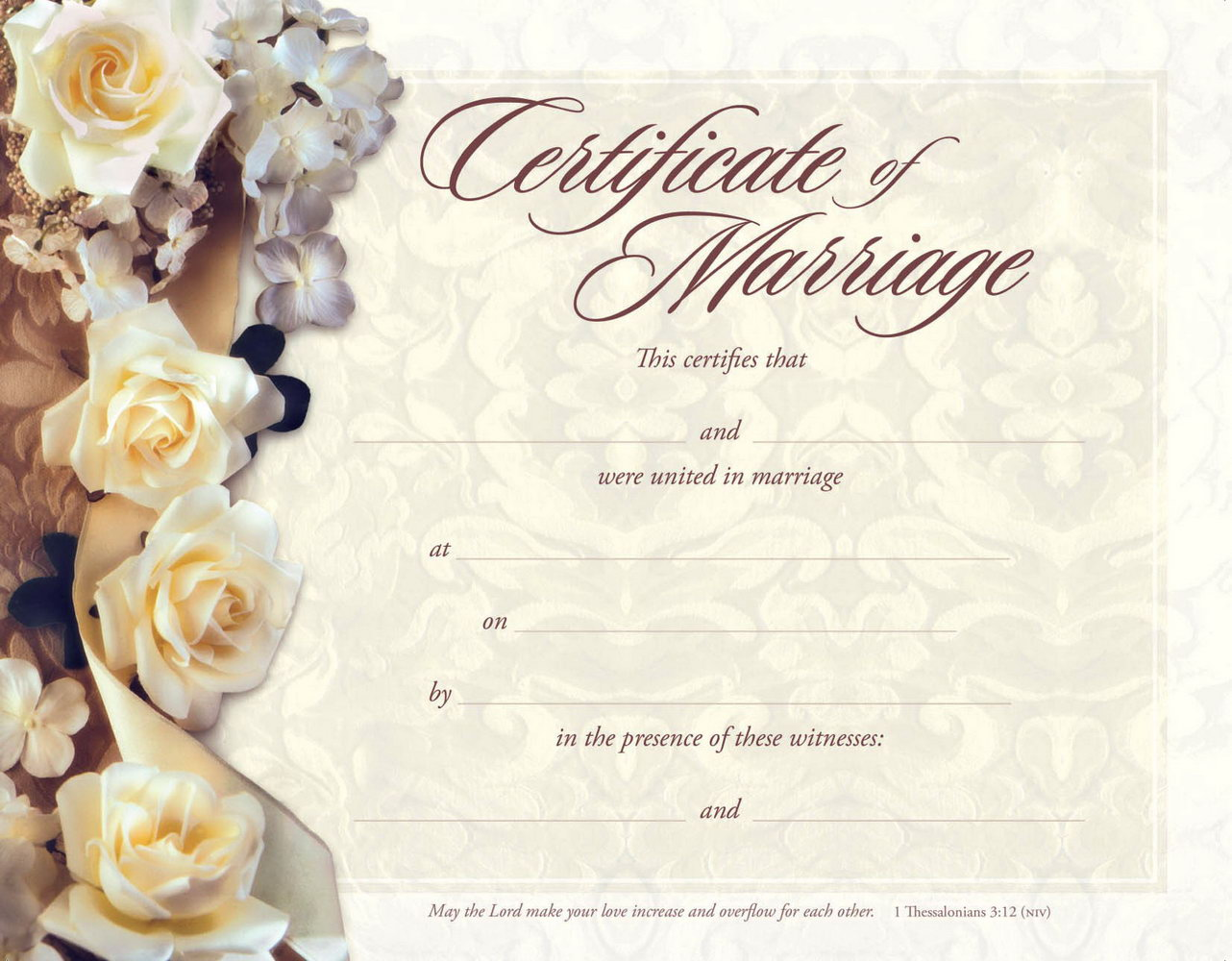 Christian Marriage Certificate Template