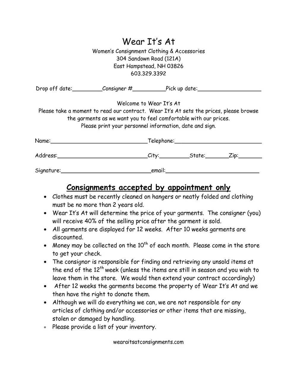 Clothing Consignment Agreement Template