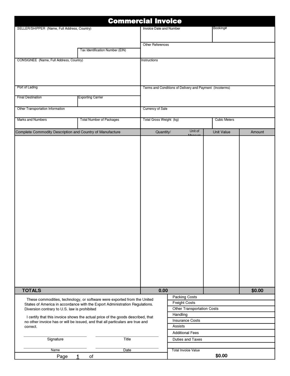 Commercial Invoice Template Free Download