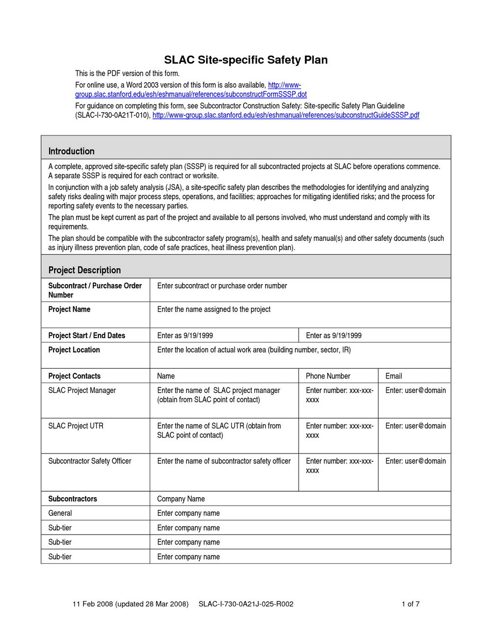 Construction Site Specific Safety Plan Template