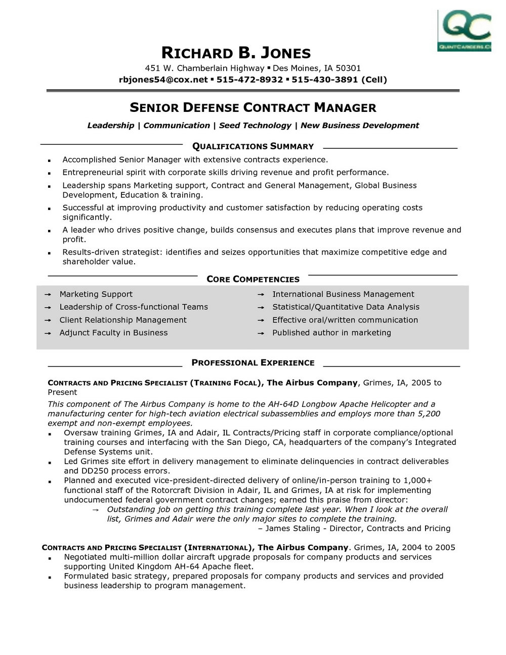 Contract Management Resume Templates