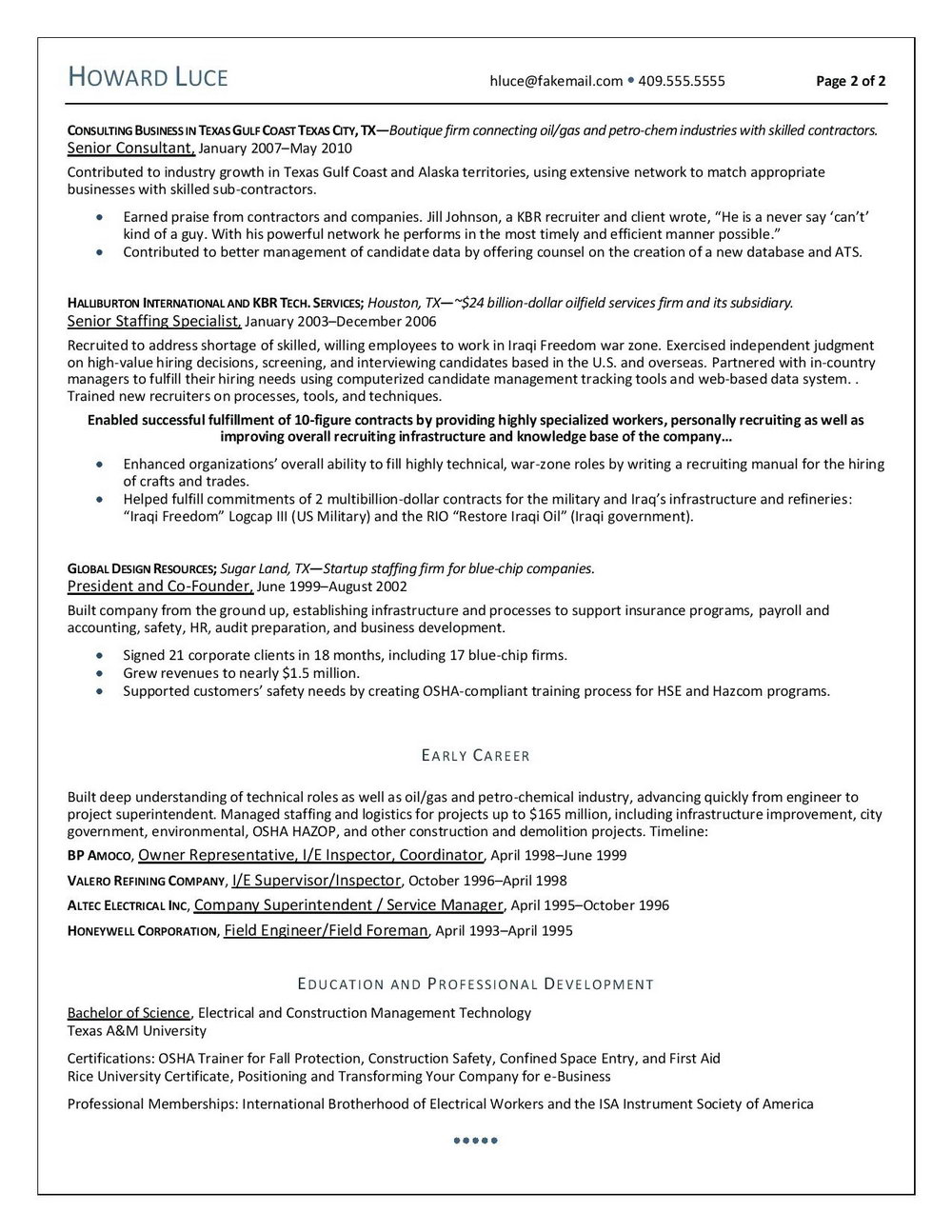 Contractor Resume Templates Examples