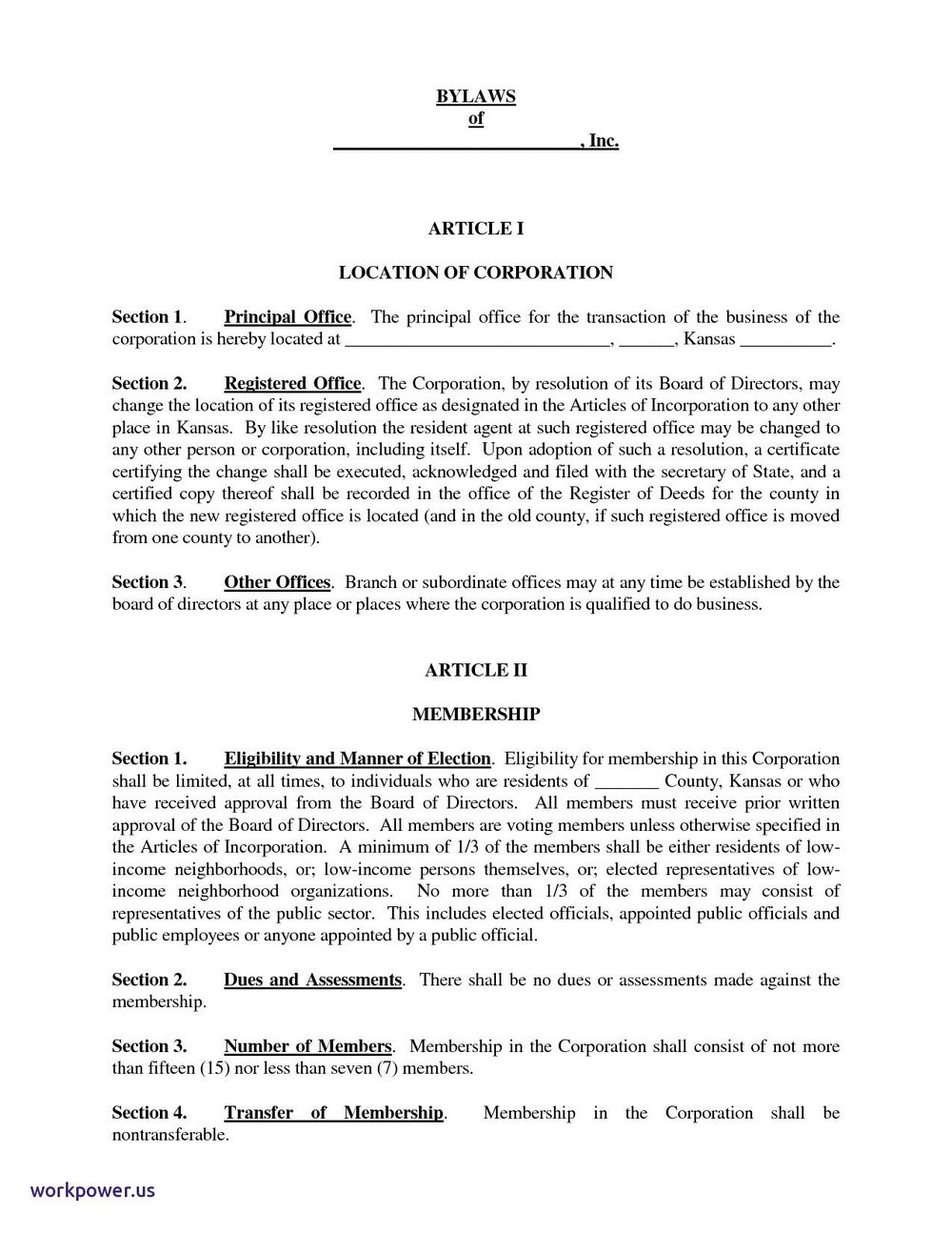 Corporation Bylaws Template Free