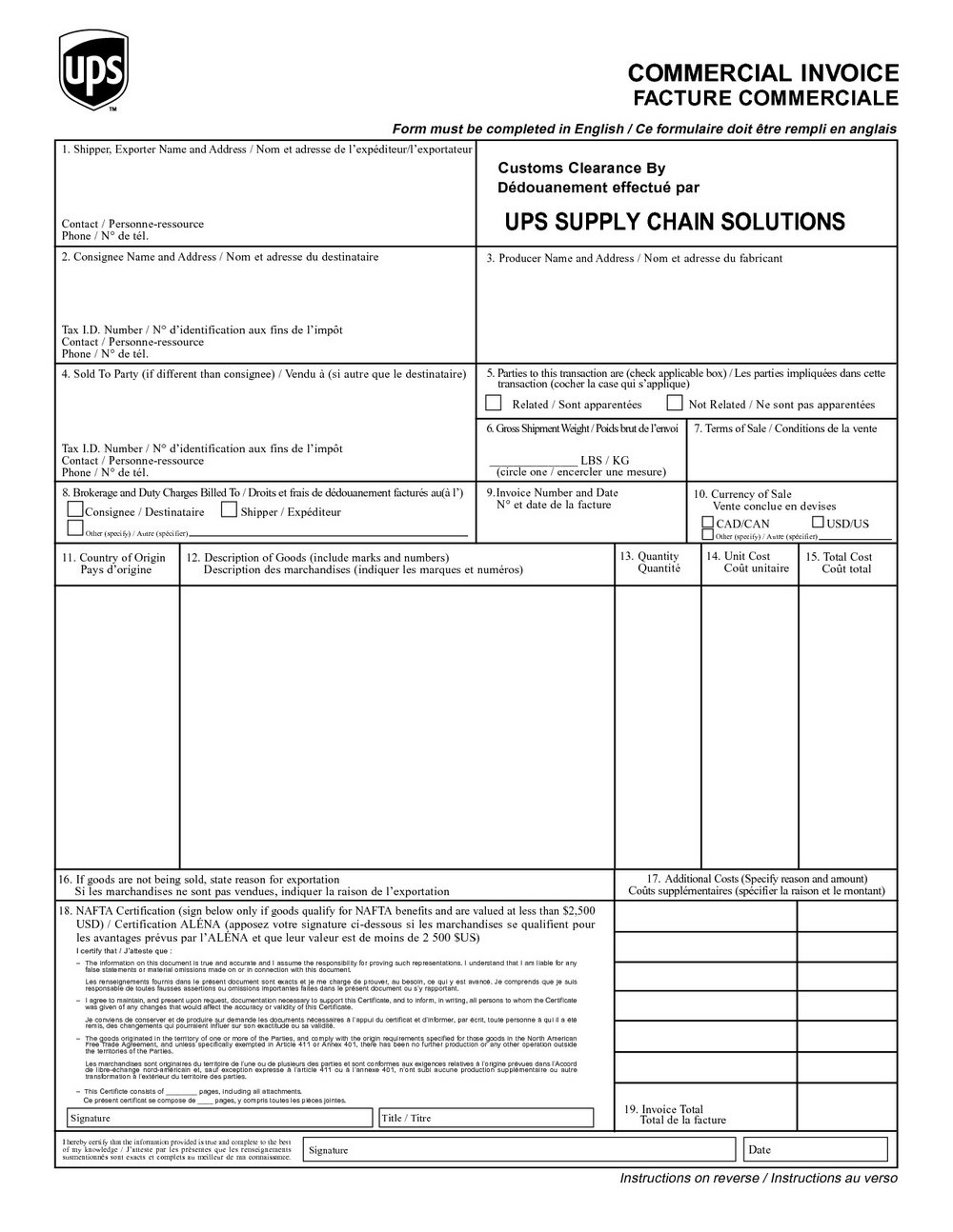 Customs Invoice Template Uk