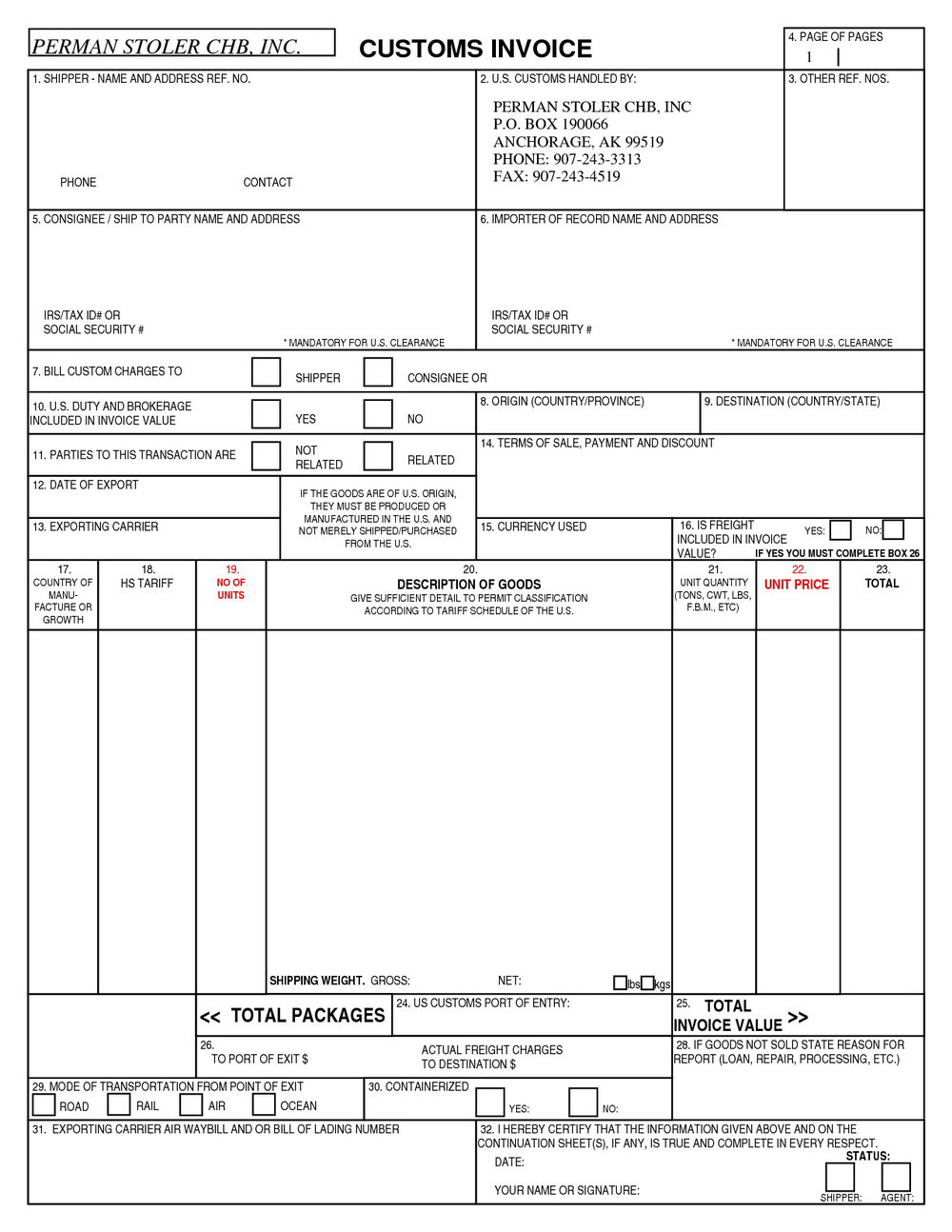 Customs Invoice Template