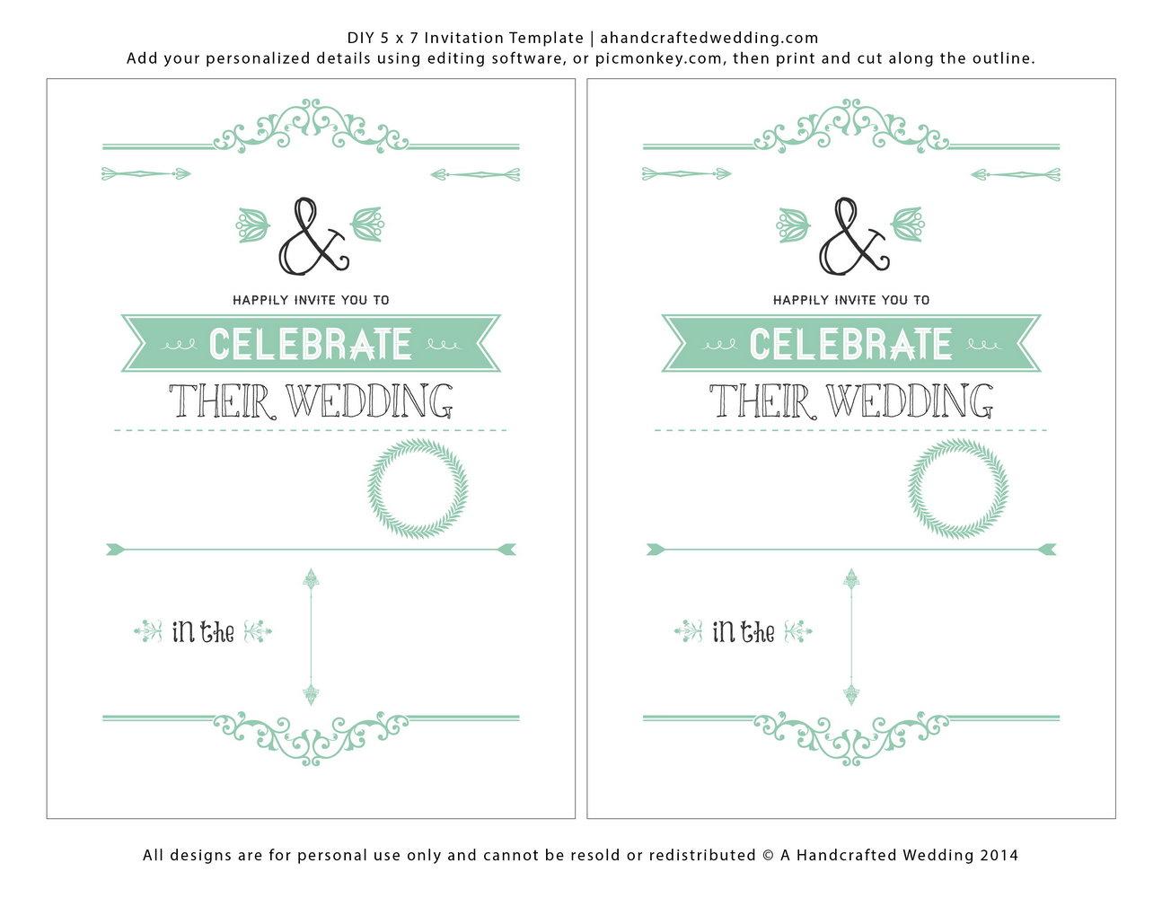 Downloadable Printable Wedding Invitation Templates