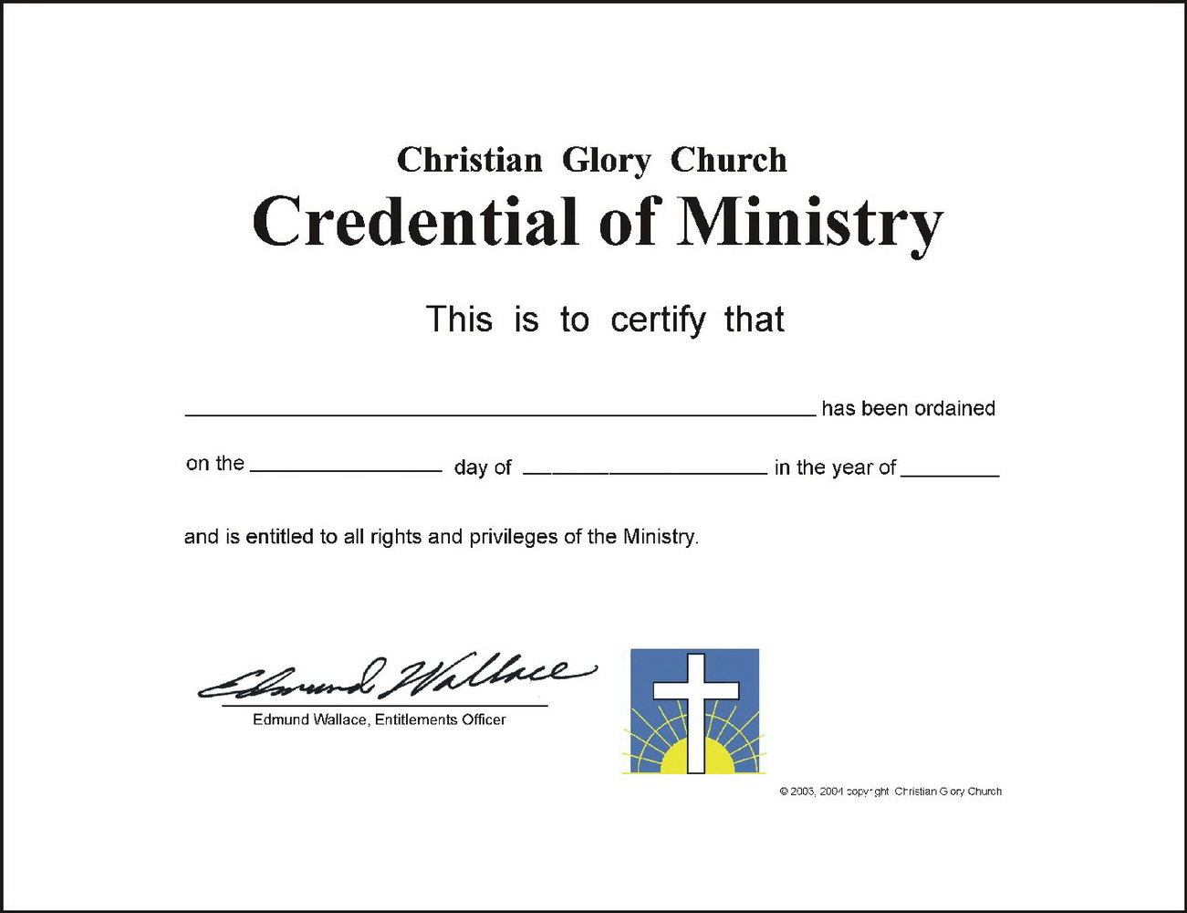 Editable Ordination Certificate Template