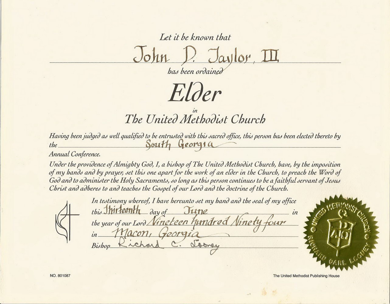 Elder Ordination Certificate Template