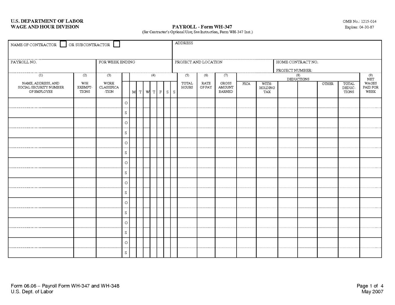 Employee Payroll Record Template