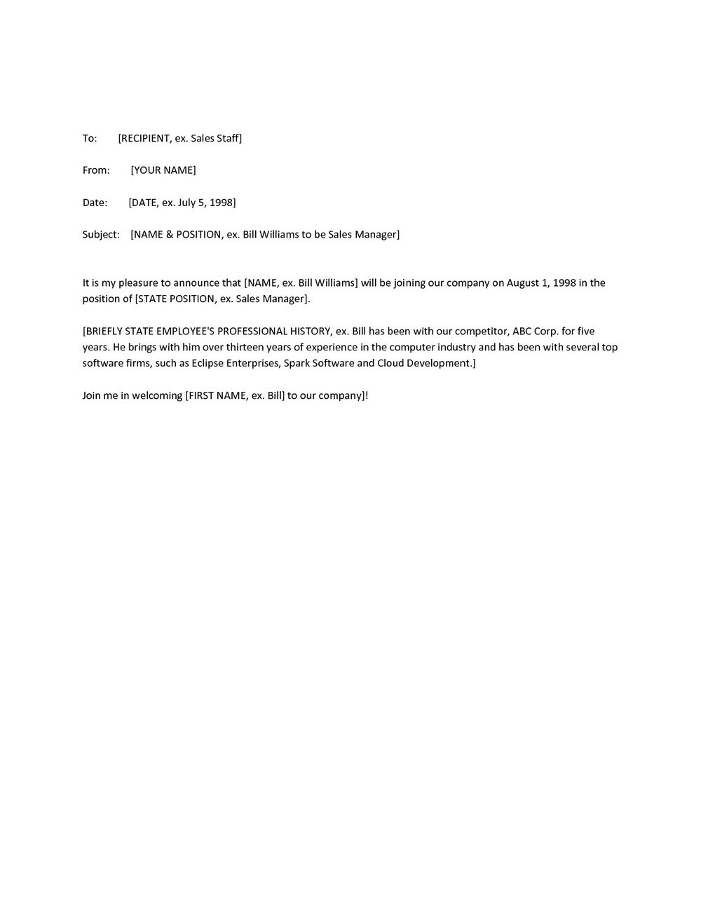 Employee Termination Announcement Template