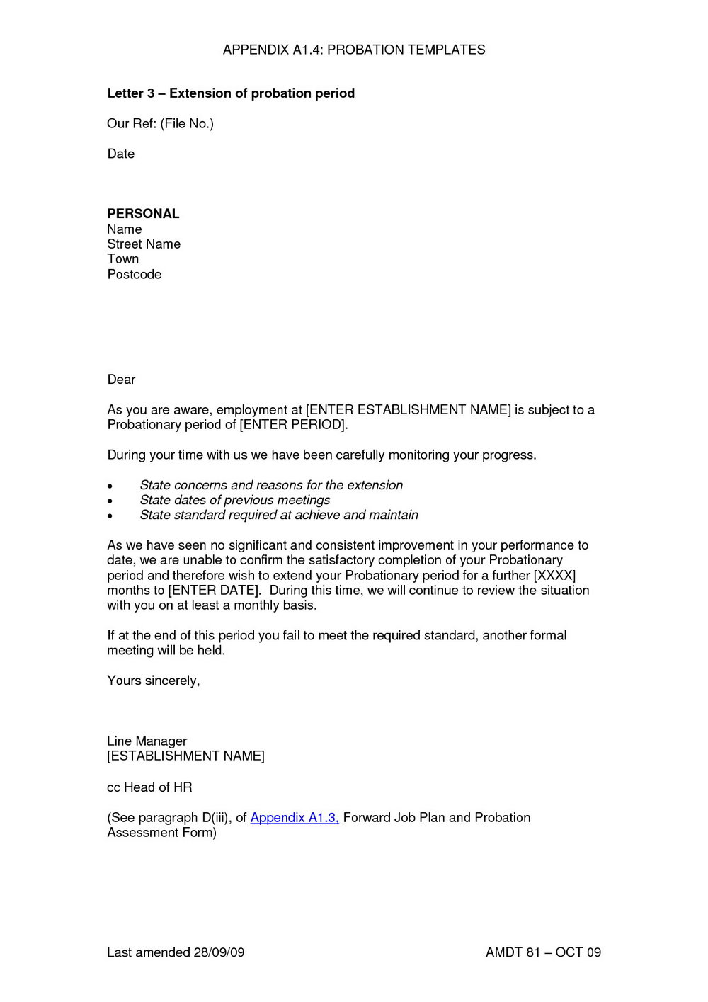 Employment Probation Letter Template