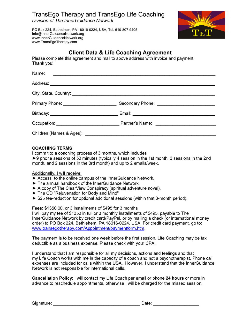 Executive Coaching Agreement Template