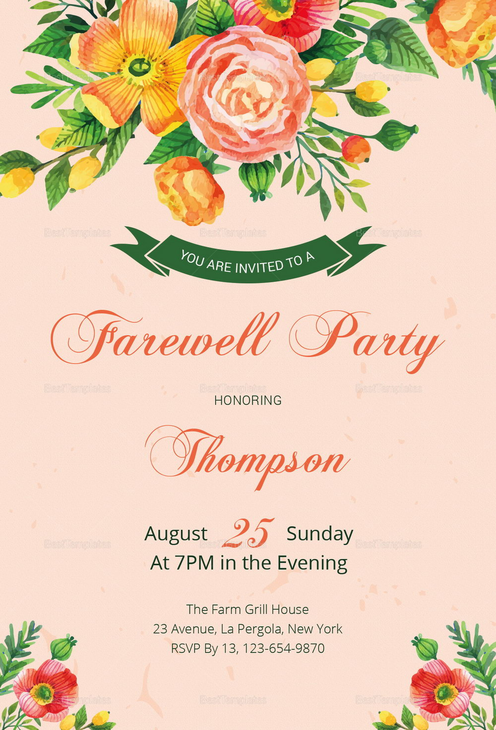 Farewell Party Invitation Email Template
