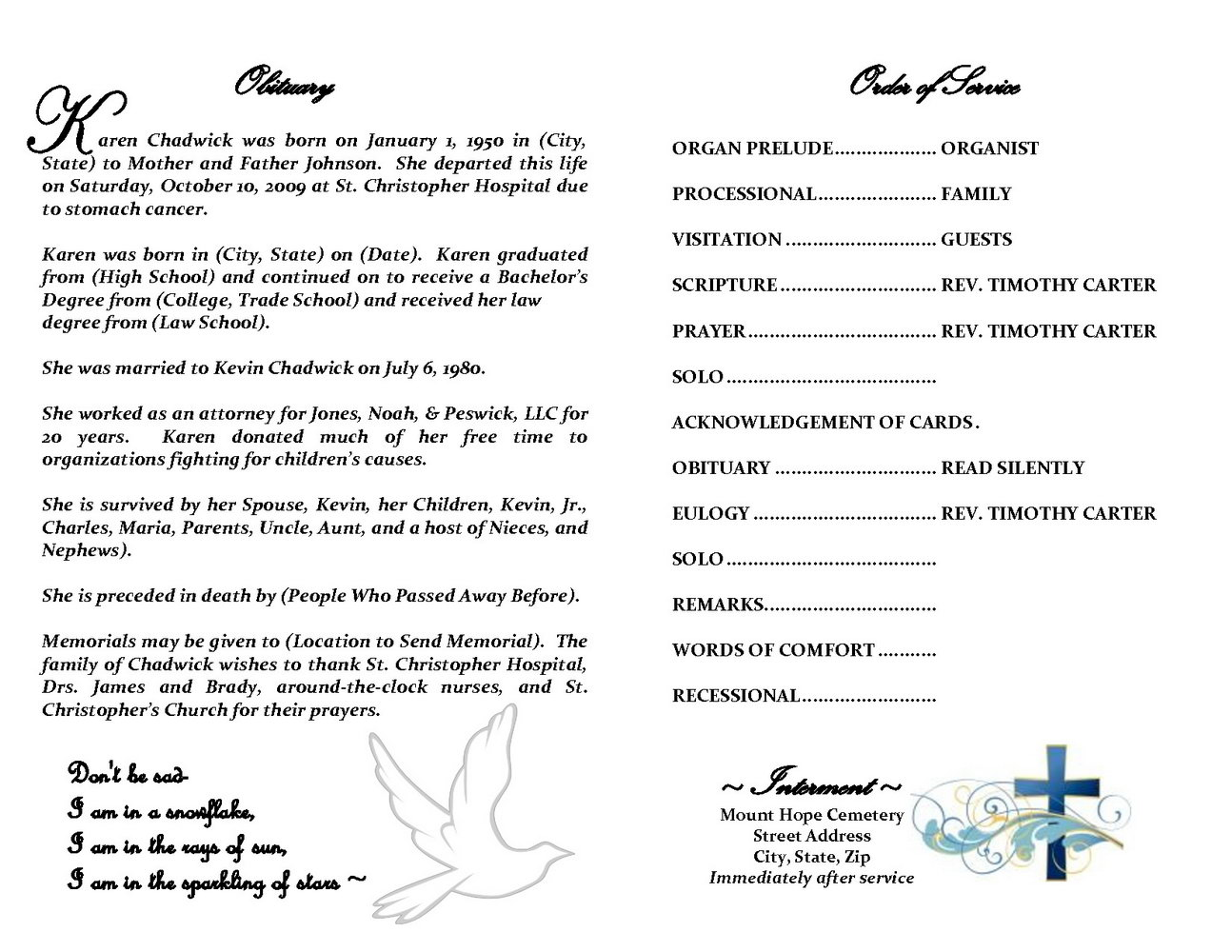 Free Funeral Obituary Template