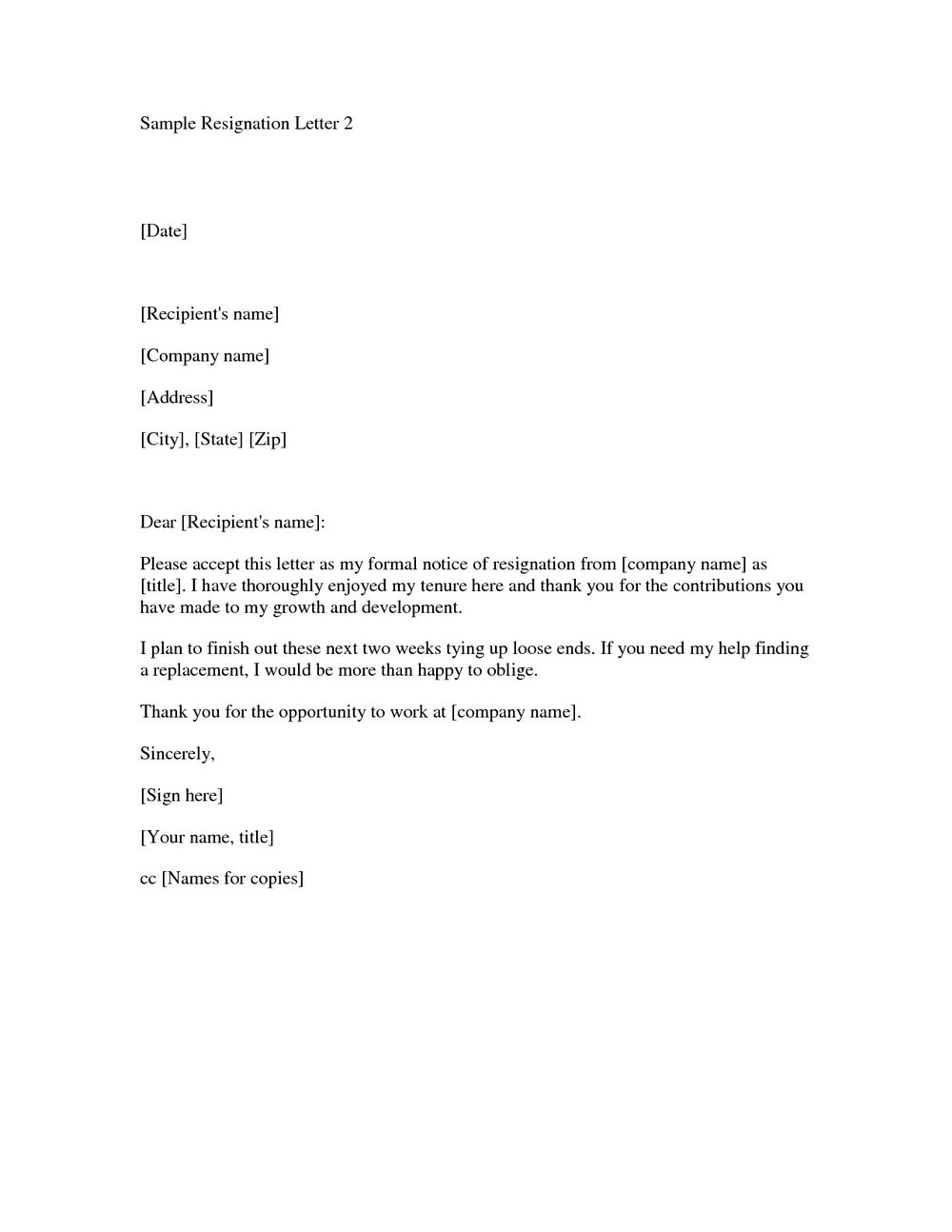 Free Letter Of Resignation Template Uk