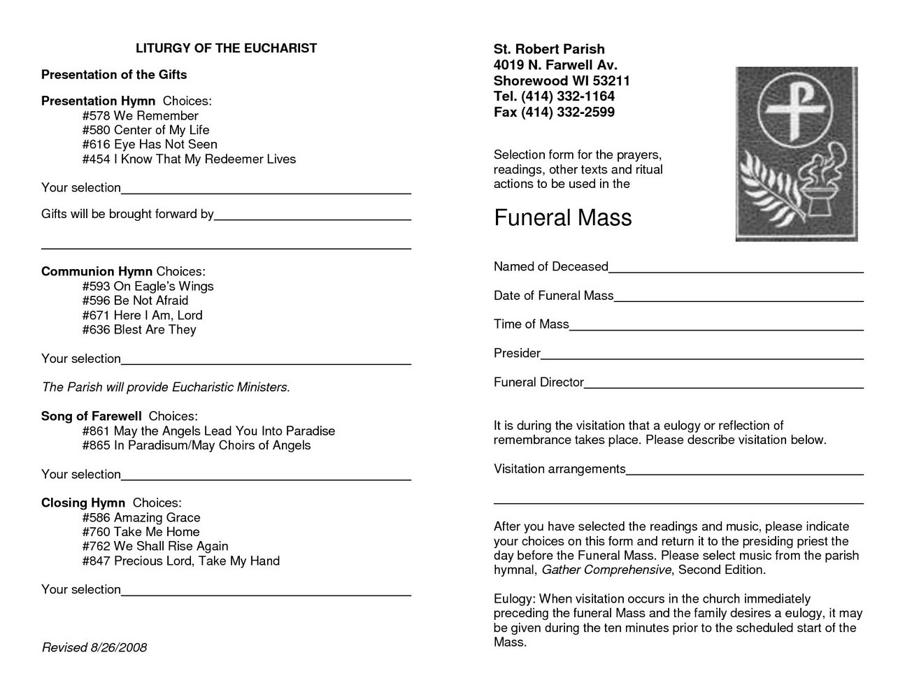 Funeral Mass Booklet Template Free