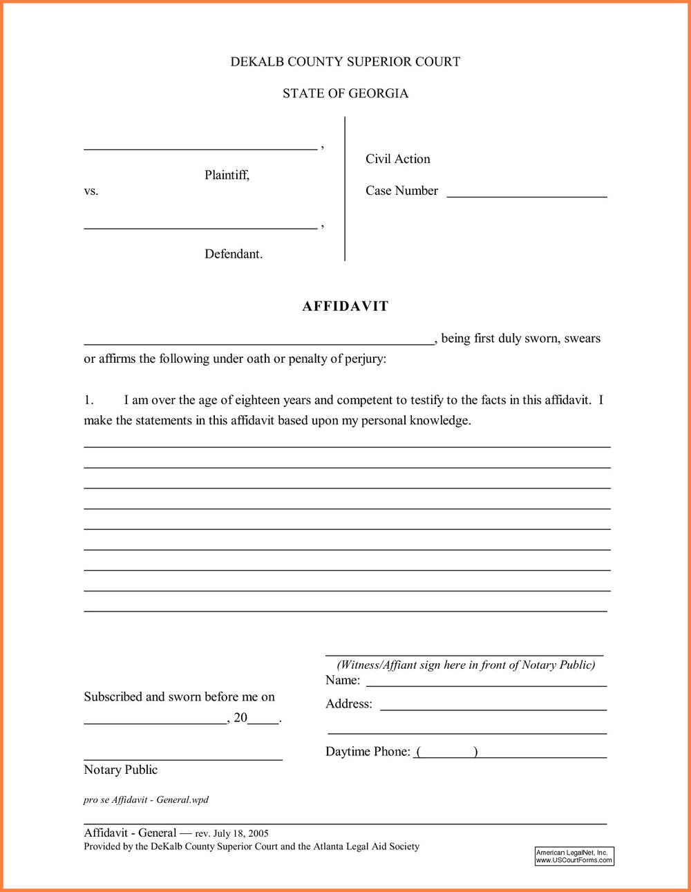 General Affidavit Template Nz