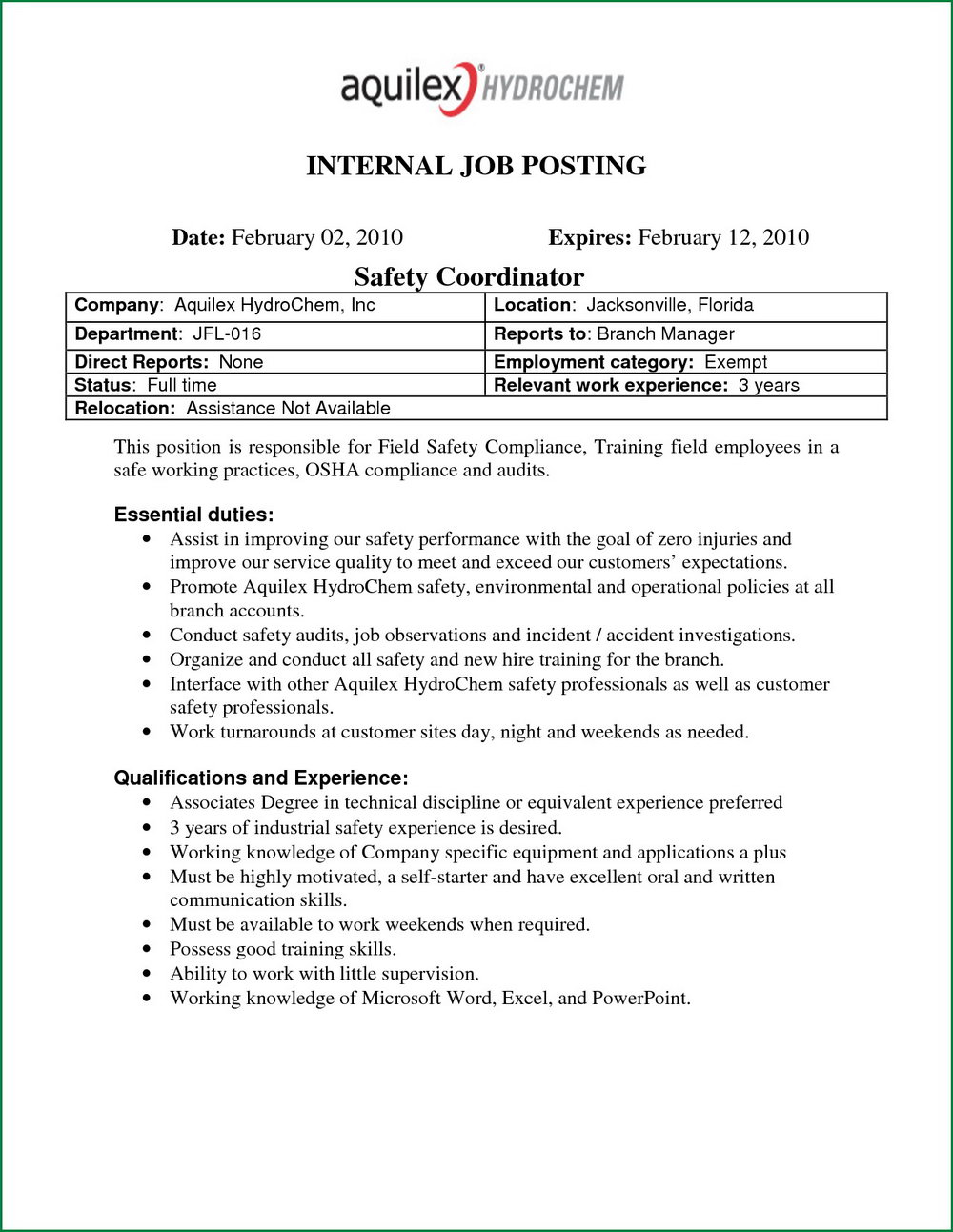 Internal Job Posting Template Word