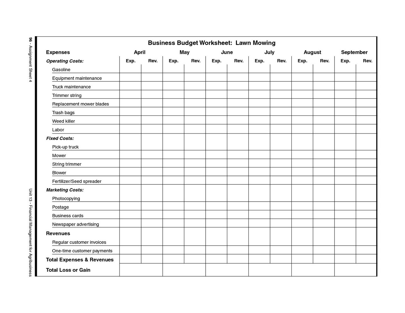 Lawn Care Business Plan Template Free