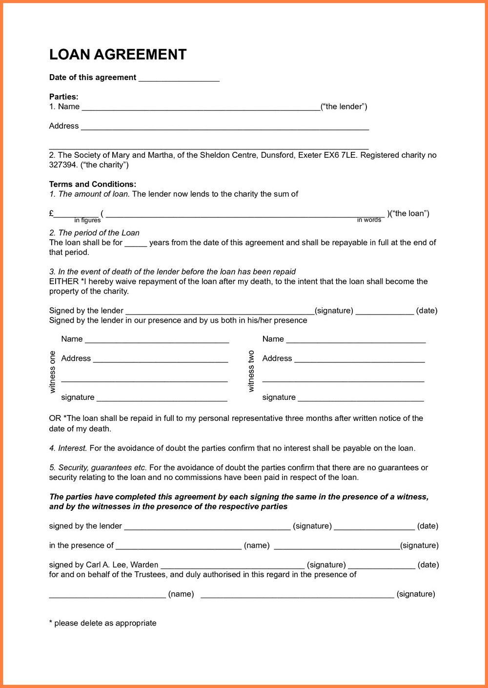 Loan Agreement Between Family Members Template Uk