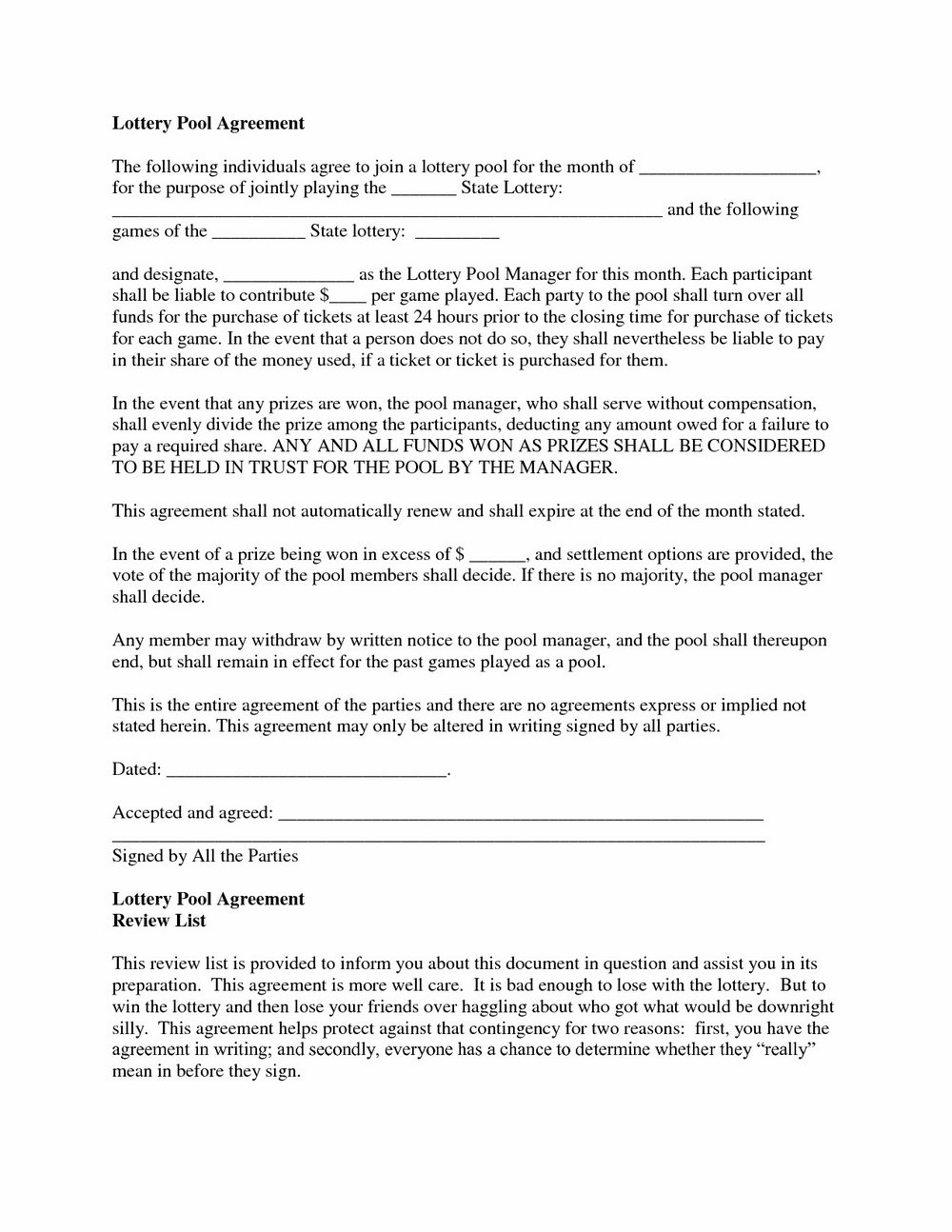 Lottery Pool Contract Template