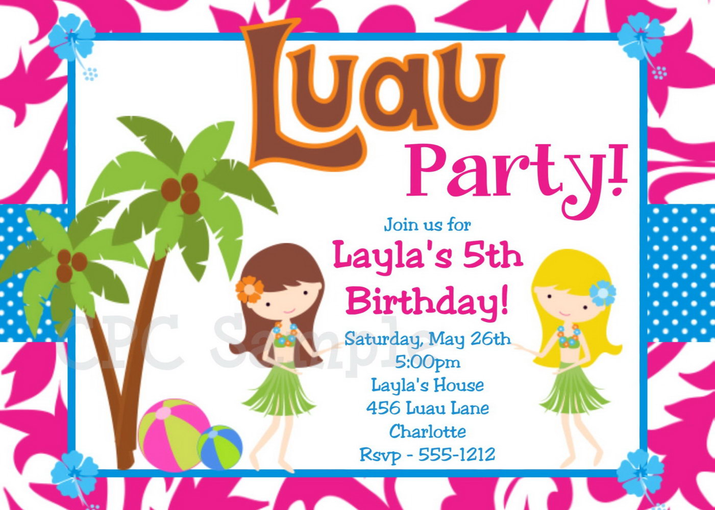 Luau Party Invitation Template Free