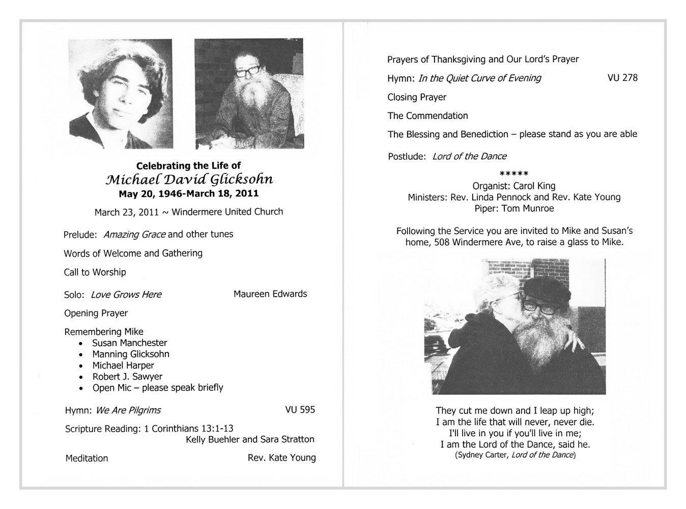 Memorial Service Bulletin Template