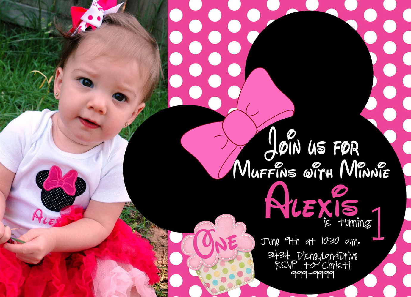 Minnie Mouse 1st Birthday Invitations Templates