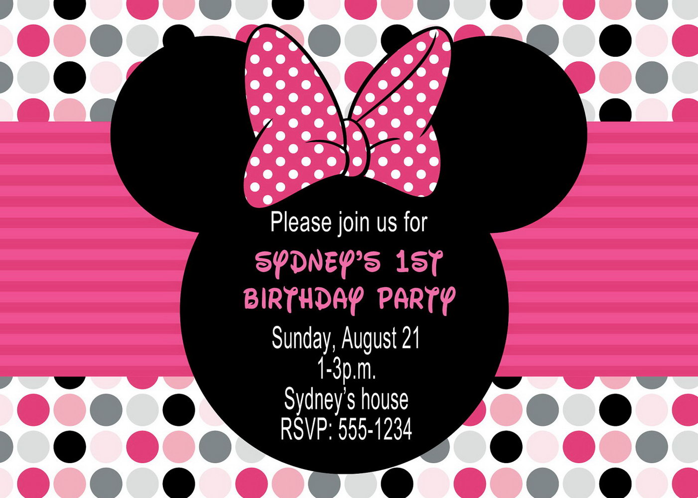 Minnie Mouse Party Invitation Template