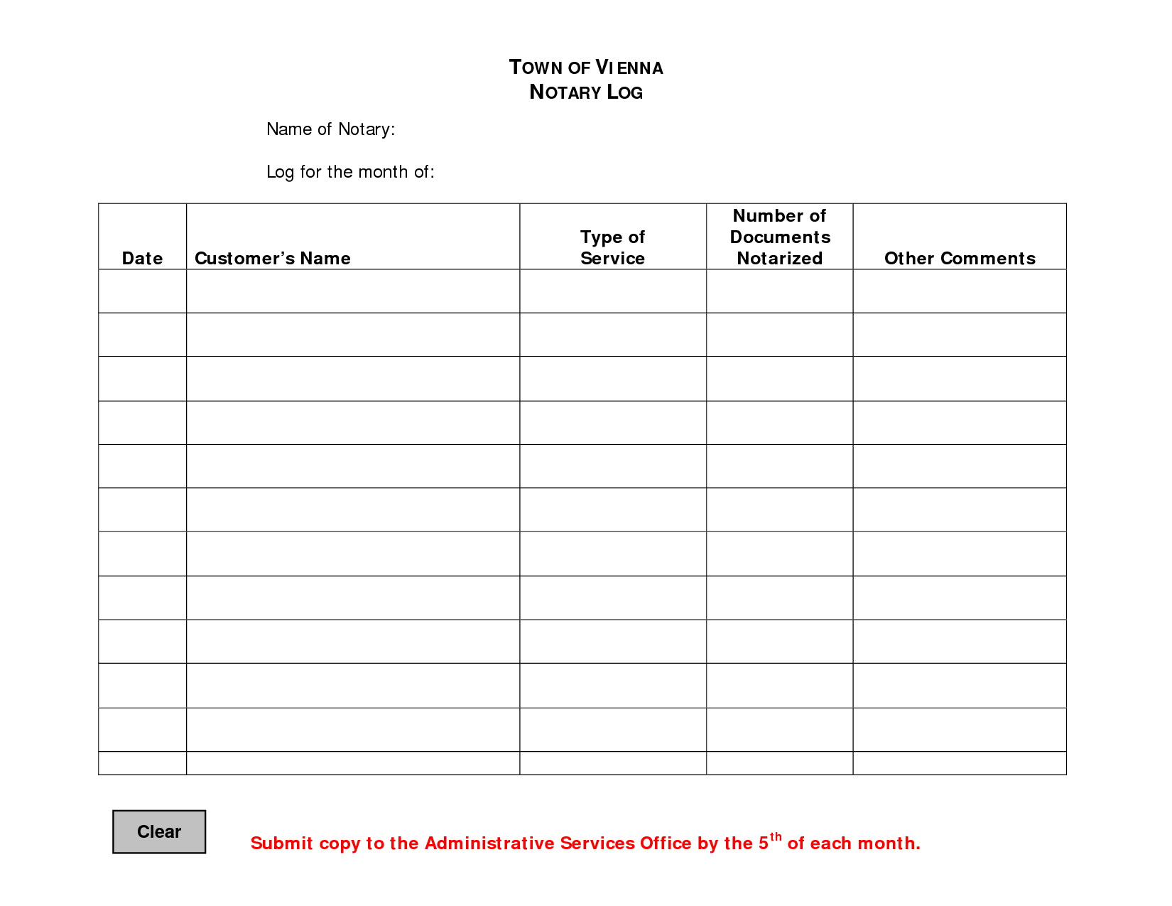 Notary Public Journal Template